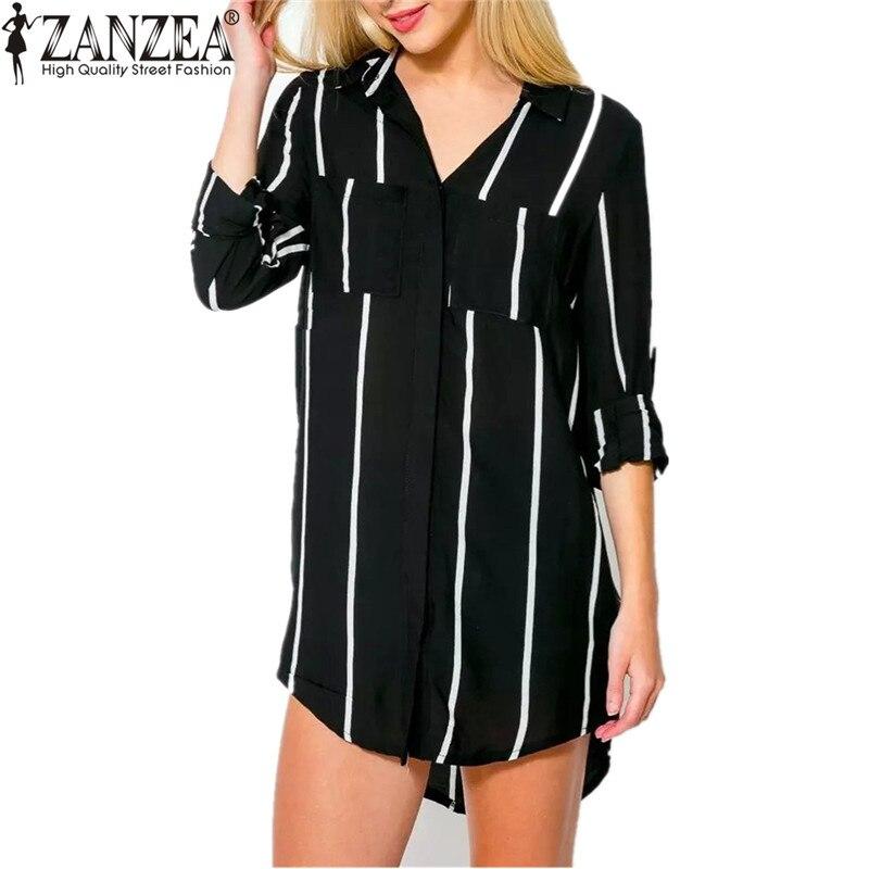 Zanzea mujeres larga a rayas de gran tamaño de la blusa camisa 2017 ladiesturn-d