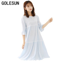 New Arrival Autumn Women's White Pure Cotton Gowns Lady Sweet Princess Nightgown Ladies Long Sleep Dress Lounge Vestidos 8866