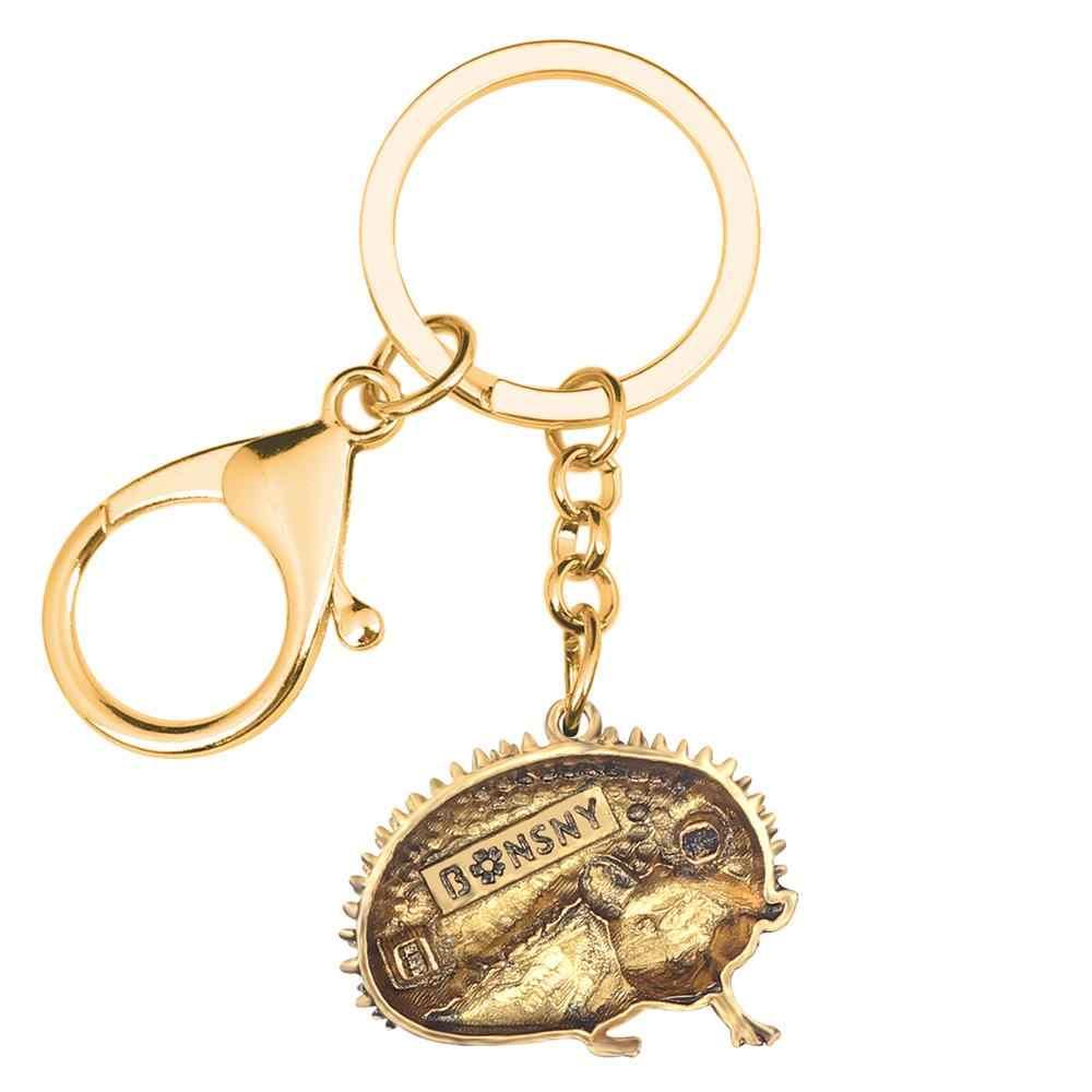 Bonsny aleación divertido erizo llavero llaveros Hipster Animal salvaje joyería para mujeres niñas bolso monedero encantos gran decoración de regalo