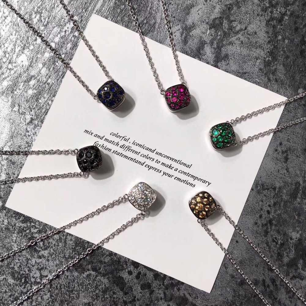 2019 Designer de Marca de Moda Doce Colar de Pingente de Pedra Para As Mulheres De Luxo Rosa de Ouro 585 Jóias de Prata Misturar O Seu Próprio Estilo bijoux