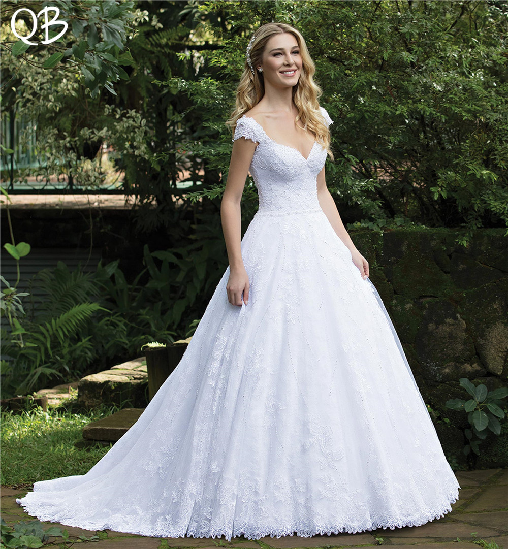 Ball Gown Backless Cap Sleeve Tulle Lace Beading Pearls
