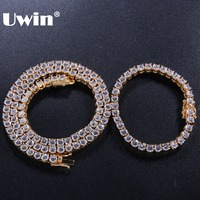 Uwin 5mm Iced Out Cubic Zirconia Tennis Chains Necklace & Bracelets Set Gold Silver Rose Gold Color Fashion Hiphop Jewelry