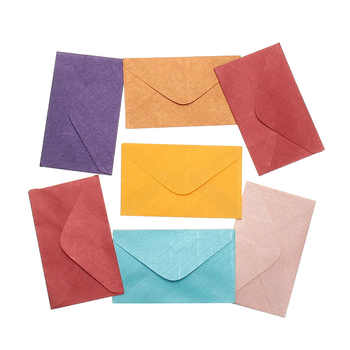 Kicute 50pcs Retro Design Small Colored Blank Mini Paper Envelopes