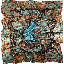 Engrossar paisley imprime 100% lenço de seda envolve luxo feminino grande quadrado xale de seda foulard 140x140cm