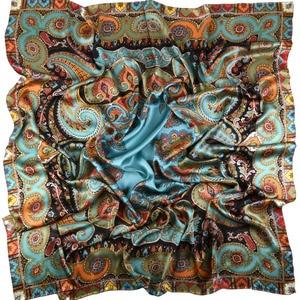Image 1 - Thicken Paisley Prints 100% 실크 스카프, 여성용 럭셔리 스퀘어 실크 숄 풀라 우드 140x140cm