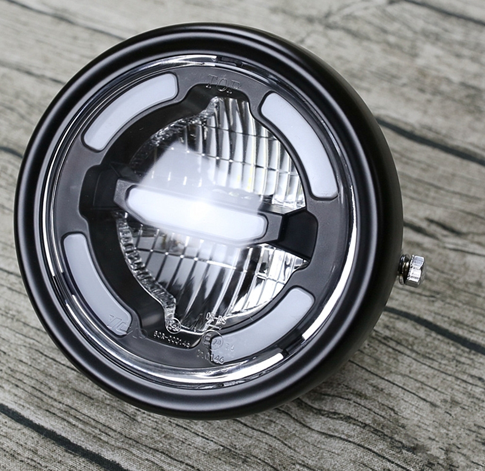 16 5CM Cafe Racer LED Motorcycle Headlamp Day time light Distance light and lower beam Refit