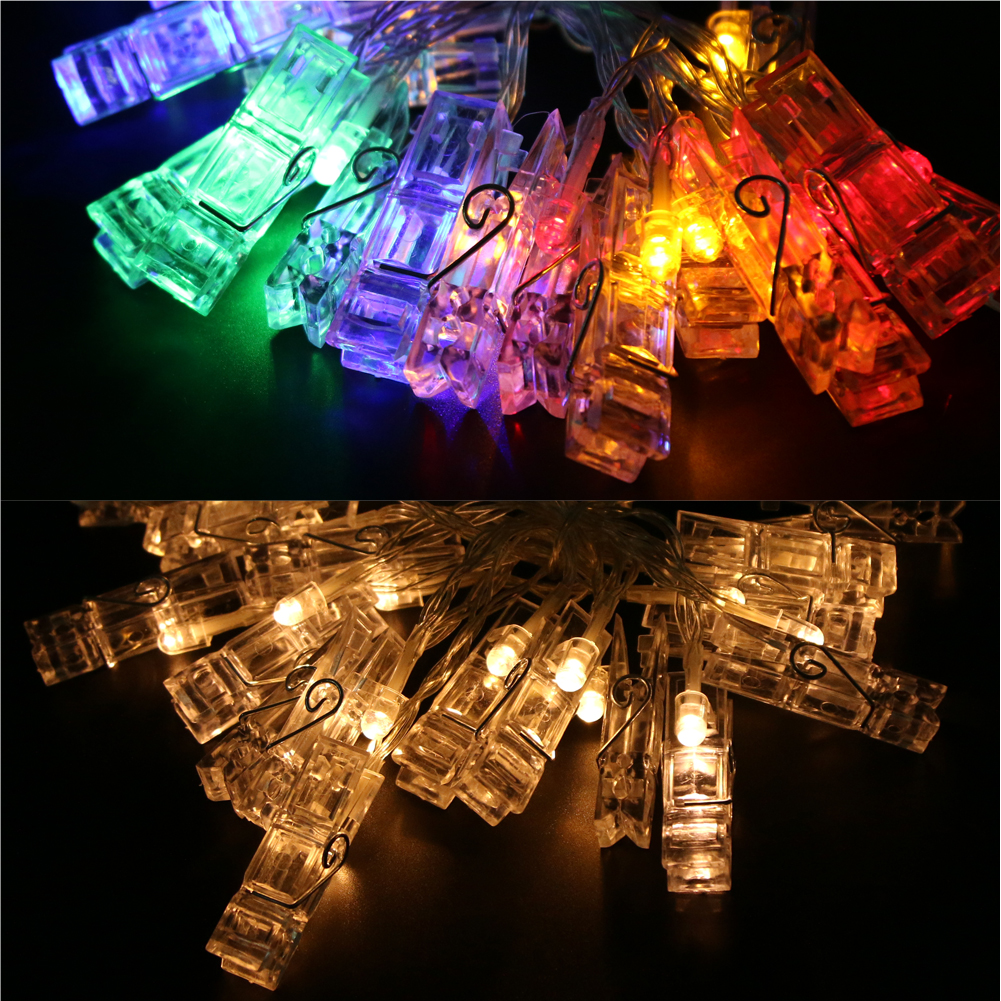 2 3M 20 LED Card Photo Clip String Lights Colorful Crystal Festival Party Wedding Fairy Lamp