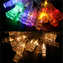 2.3M 20 LED Card Photo Clip String Lights Colorful Crystal Festival Party Wedding Fairy Lamp Home Decoration Night Lights