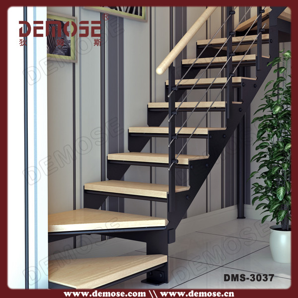 New Style Prefab Stairs With Wood Stair Treads