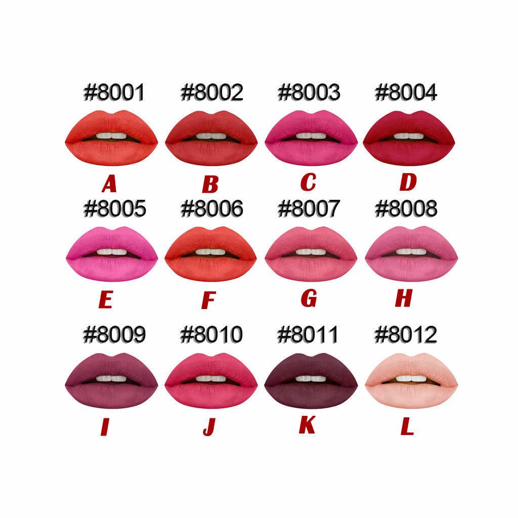 12 renk Sıvı Ruj Su Geçirmez Mate Kırmızı Dudak Uzun Ömürlü Makyaj Parlatıcısı Makyaj Dudak Sopa Mat Ruj Olmayan sopa Fincan F4.13