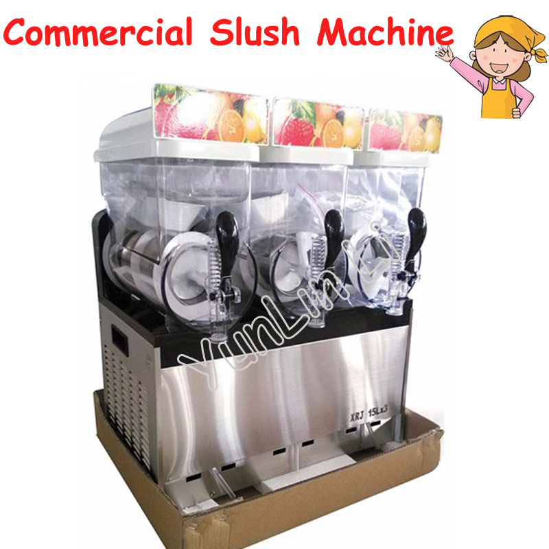 Beverage Ice Machine Snow Melting Machine 3 Tanks of Commercial Slush Machine Beverage Ice Frozen Juicer XRJ15X3