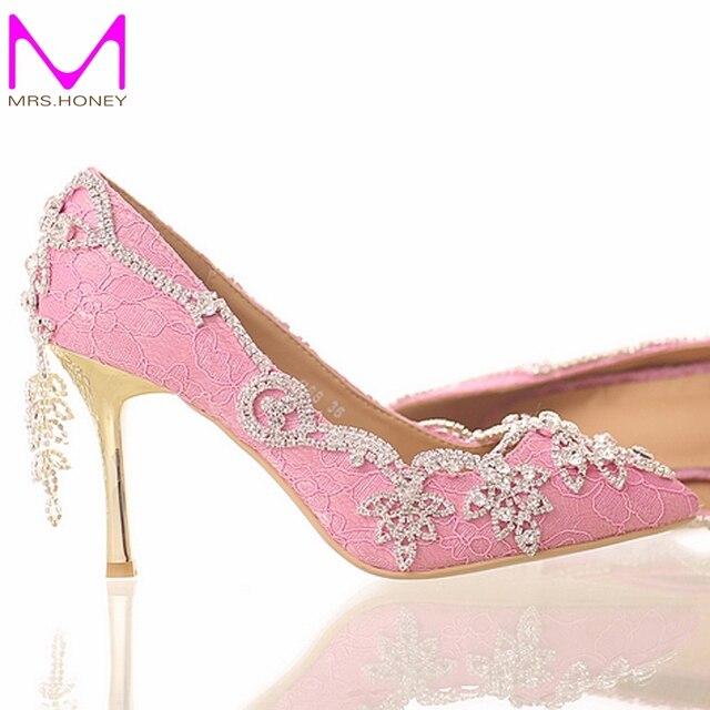 d2d1d79e Rosa de encaje de novia zapatos con borla Rhinestone de estilete zapatos de  vestido de boda
