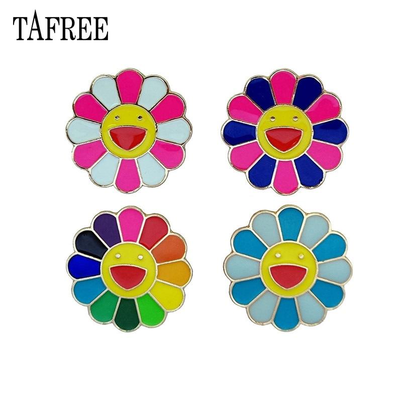 Японская брошка TAFREE Murakami Takashi, 7 цветов, с эффектом подсолнечника, с металлическими заколками для лица, с отворотом, мультяшный знак, украшения для детей Броши      АлиЭкспресс