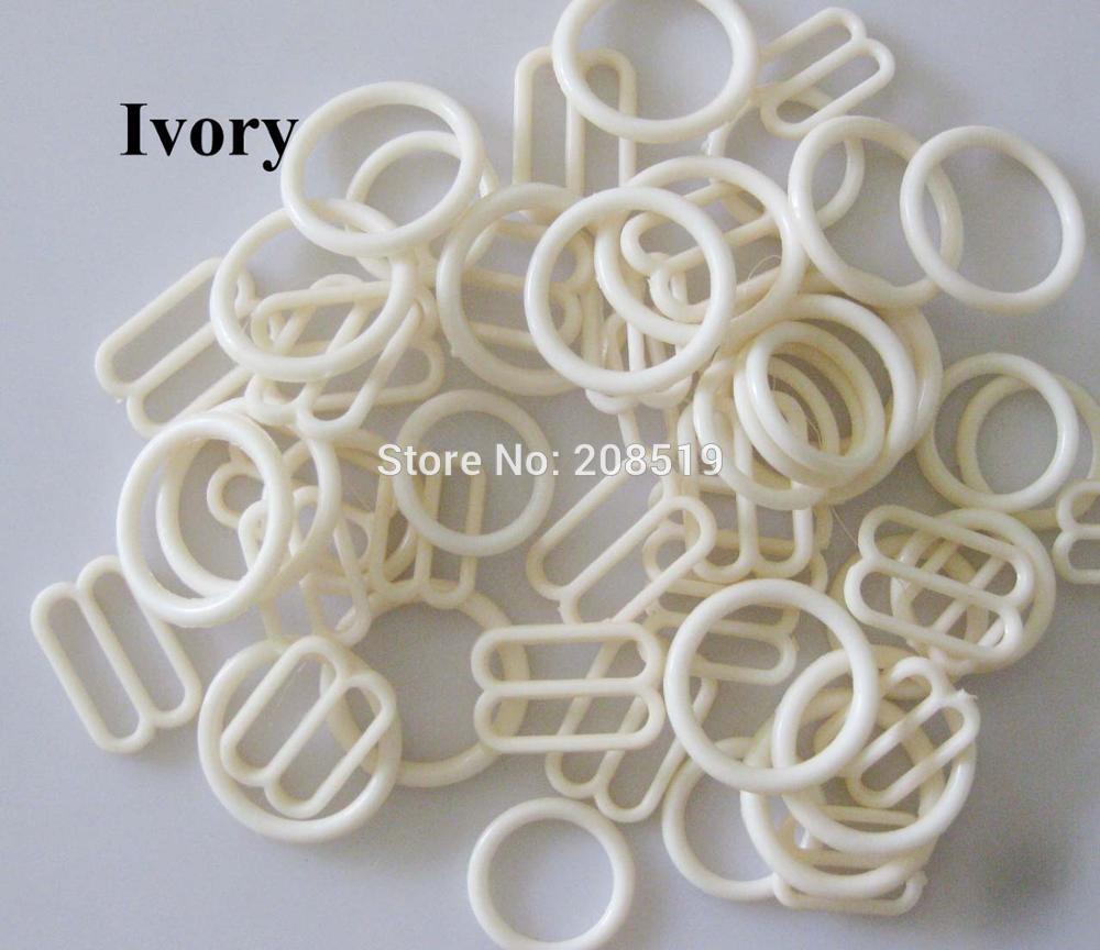 NBNLAE 100 шт. пряжки для бюстгальтера(50 шт. уплотнительное кольцо+ 50 шт. 8 слайдеров) красочные пластиковые пряжки нижнее бельё с пуговицами аксессуары - Цвет: ivory as show