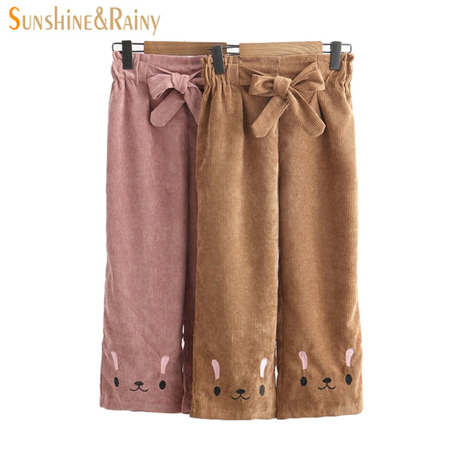 2018 Spring Autumn Rabbit Straight Corduroy Embroidered Wide Leg Pants High  Waist Ankle-length Pants Female Casual Pants c225493f2e