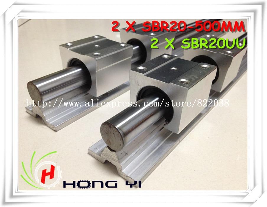 2 pcs SBR20 500mm linear bearing supported rails+4 pcs SBR20UU bearing blocks,sbr20 length 500mm for CNC parts