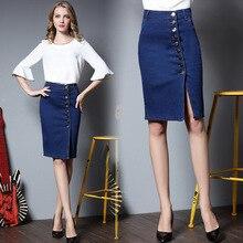 Summer Women's Denim skirt Button Split skirt Ladies Office Pencil Jeans skirt knee length package Plus Size S- 6XL DTY025