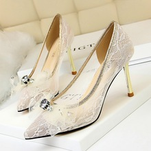 pumps damen high heels Women Shoes Metal Fine Mesh Hollow Lace Drill Bow bridal luxury lage dames schoenen
