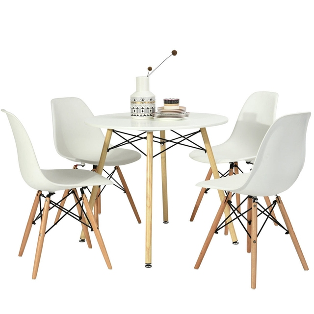 2018 New Product 80cm Round Dining Table White Modern Beech Wood