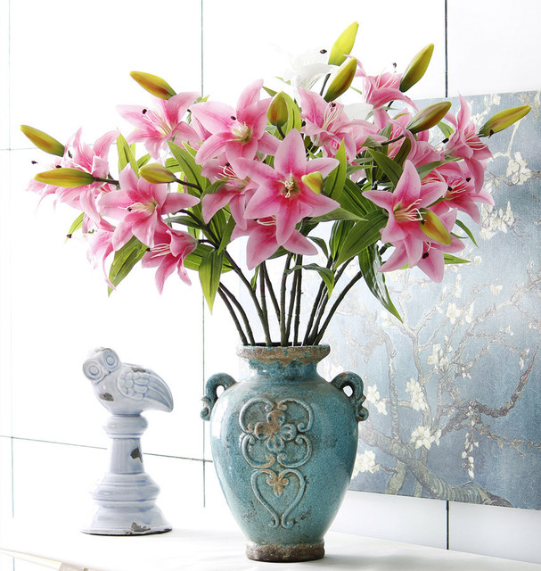 Artificial Flower Real Touch Lily Flowers Home Decor For Wedding Gifts HI Q 6pcs 3 Heads 75cm