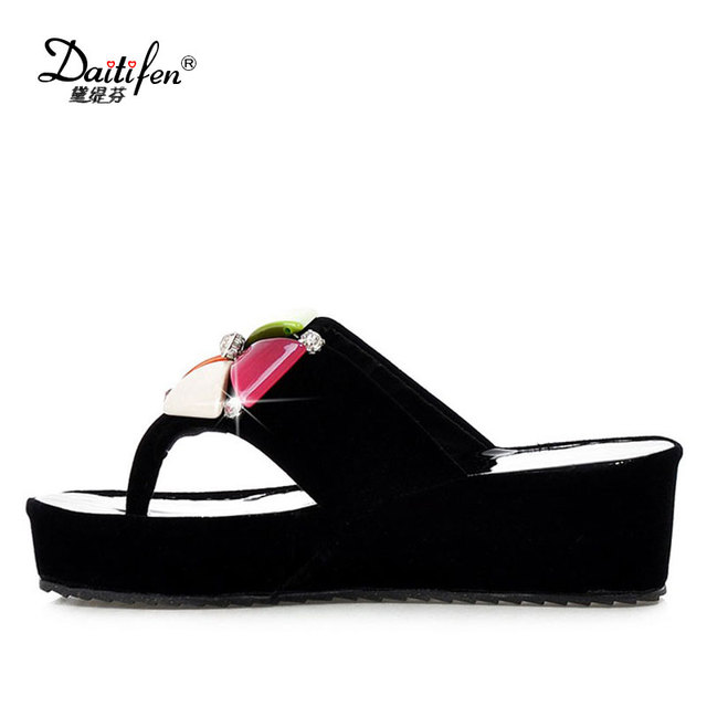 2720a612f4258 Daitifen Stylish women Summer shoes Pretty Crystal decoration Colorful  Flower high heel lady Slippers Casual Platform Flip Flops