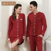 2016 Rushed Sale Gecelik Sleepwear Nightgown Qianxiu High-grade Quality Women Sleep Shirt Men Casual Long Sleeve Couple Homewear