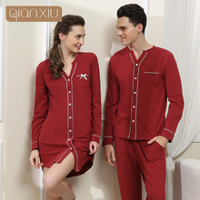 돌진 판매 Gecelik 잠옷 나이트 가운 Qianxiu 고급 품질의 여성 수면 셔츠 남성 캐주얼 긴 소매 커플 Homewear 1537