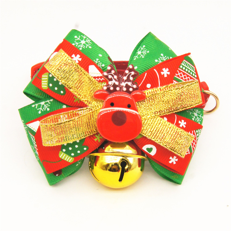 Christmas Small big large dog cat pet Bow tie collar pitbull golden retriever dog bell collar dog necklace pendant