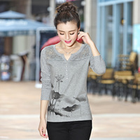 T Shirt Women 2017 Tops Long Sleeve Graphic Tees Floral T Shirt V Neck Korean Clothes