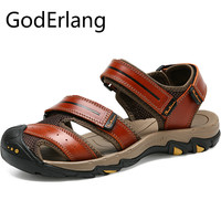 GodErlang Men Sandals Mens Sandals Genuine Leather 2018 Summer Brand Casual Mens Beach Sandals Slippers Cool