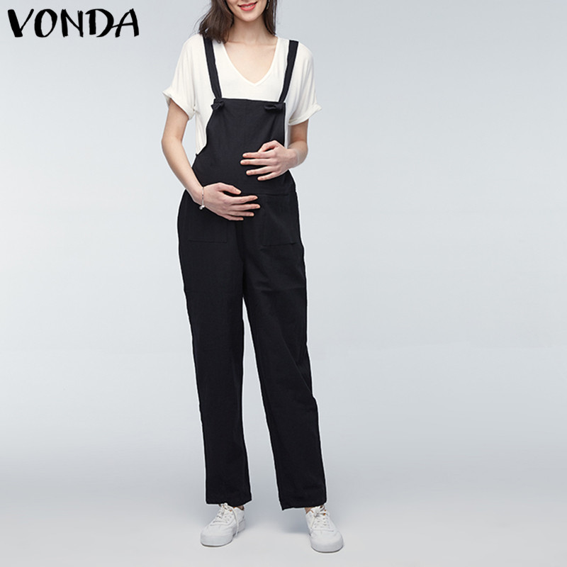 VONDA Maternity Pants 2019 Pregnant Rompers Womens Jumpsuit Casual Loose Pregnancy Overalls Playsuits Trousers Bottoms Oversize