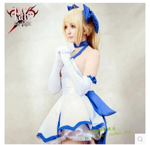 (Dress + bowknot + corbata + guantes + maletas) anime fate/stay night saber lily cosplay set completo