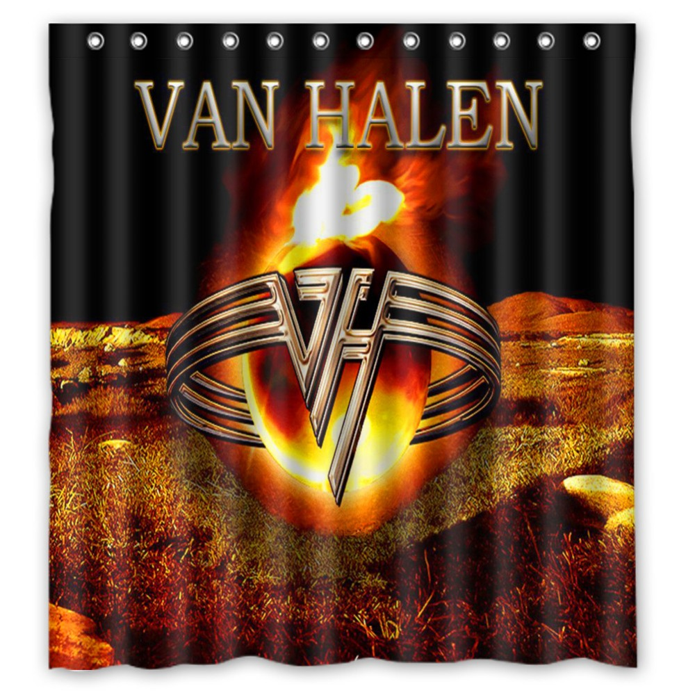 Vixm Rock Band Shower Curtains Van Halen Fabric Bathroom 66x72 Inch