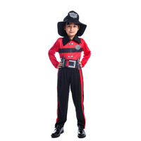Umorden Child red Brave Firefighter Cosplay Costumes Little Fireman Costume suit Boys Halloween Carnival Party Cosplay for Kids