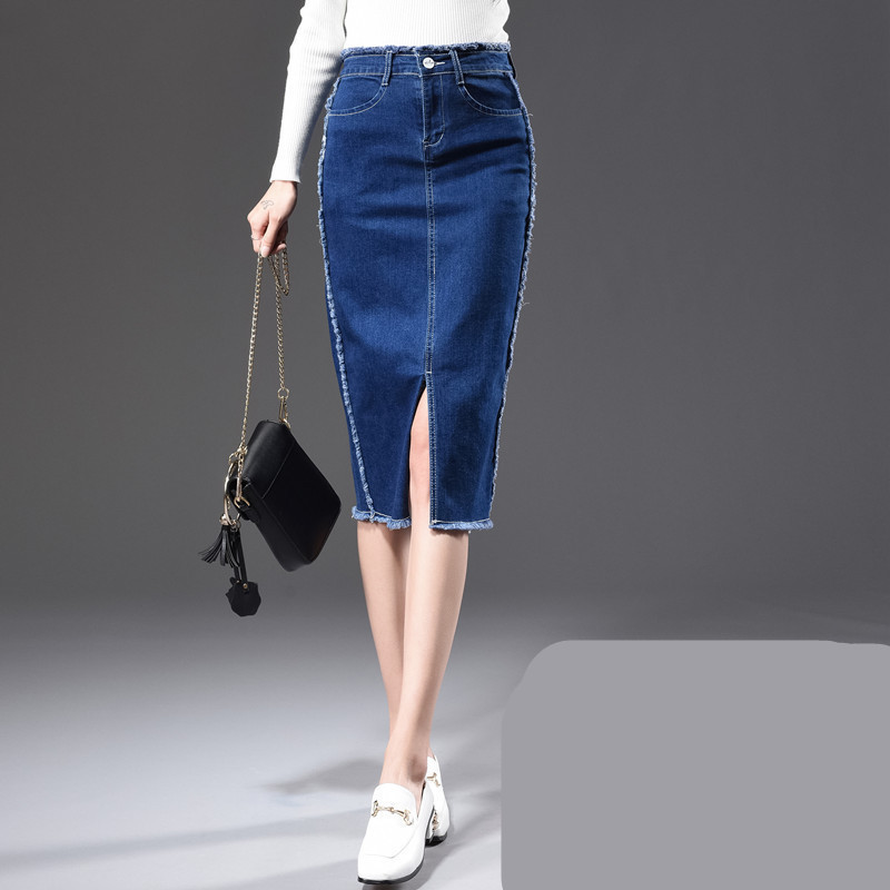 Free Shipping 2018 Fashion Knee Length Skirt For Women Pencil Summer High Waist 26-40 Plus Size Denim Skirts With Slit Tassels slit back pencil skirt with strap page 7