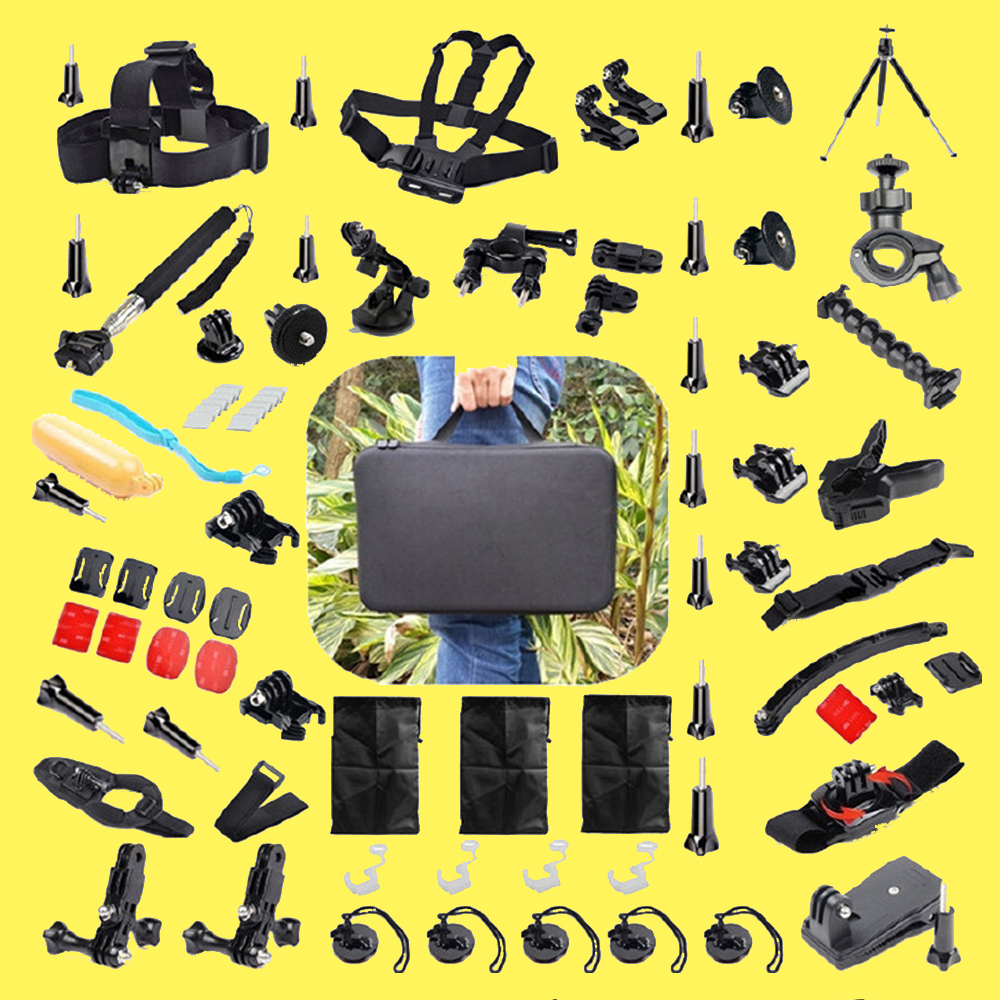 56 in 1 Gopro Accessories Kit Set For Gopro Hero 4 3 3+ 2 1 Sport Action Camera SJCAM SJ5000 SJ4000 Case Mount Chest Head Strap gopro accessories head belt strap mount adjustable elastic for gopro hero 4 3 2 1 sjcam xiaomi yi camera vp202 free shipping
