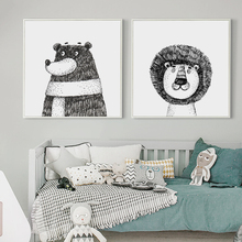 Bianche Wall Black and White Hand-painted Animal Lion Bear Cartoon Canvas Painting Art Print Posters Picture Home Decor