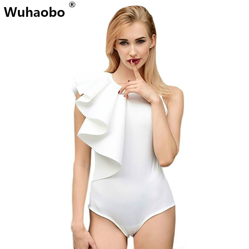 Wuhaobo 2018 Brand Bodysuit Women Sexy Jumpsuit Romper One Piece Black White Long Sleeve Draped Bodycon Elegant Body Tops