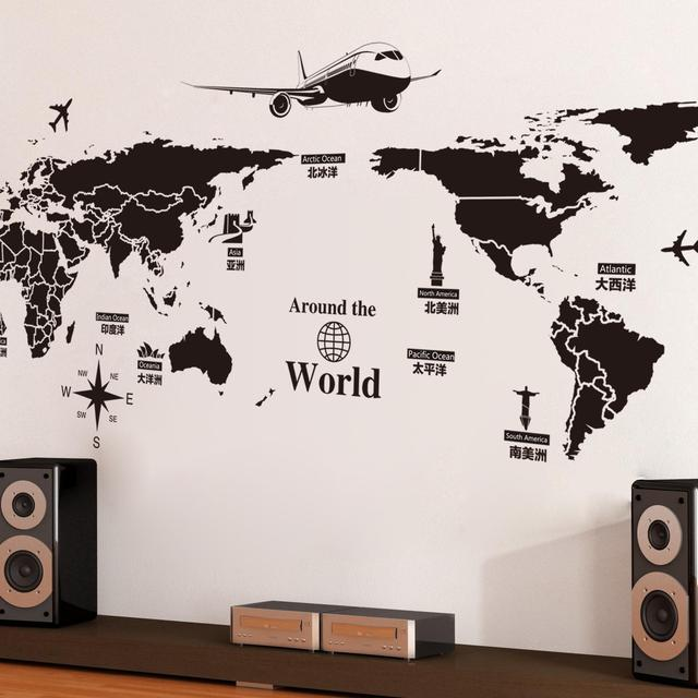 World Map Wall Stickers Removable PVC Map Of The World Art Decals     World Map Wall Stickers Removable PVC Map Of The World Art Decals for  Living Room Home