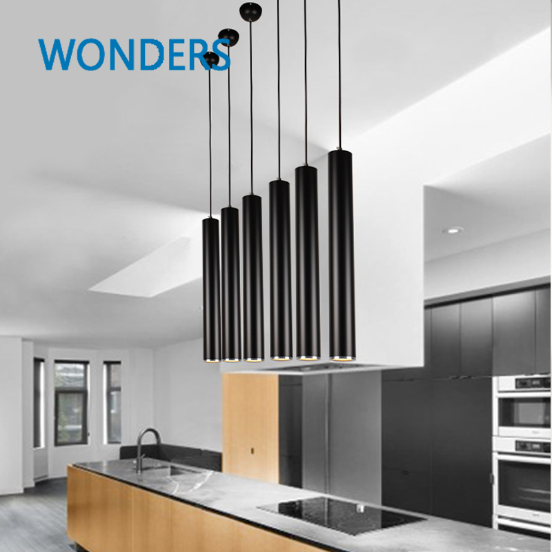 Creative modern cylinder led pendant light for living room for Living room hanging lights