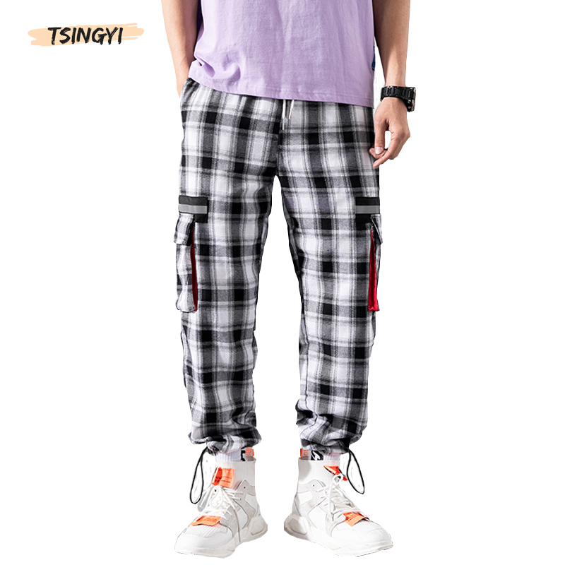 Tsingyi Japan Style Black White Plaid Cargo Pants Men Women Couple Streetwear Hip Hop Ankle-Length Pockets Grid Pattern Joggers