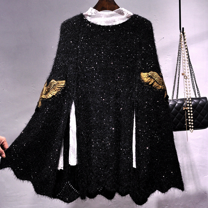 Sequined thick knitted jacket Cape wings embroidery Cloak Beading Shawl loose hedging Sequins Sweater gown Pashmina