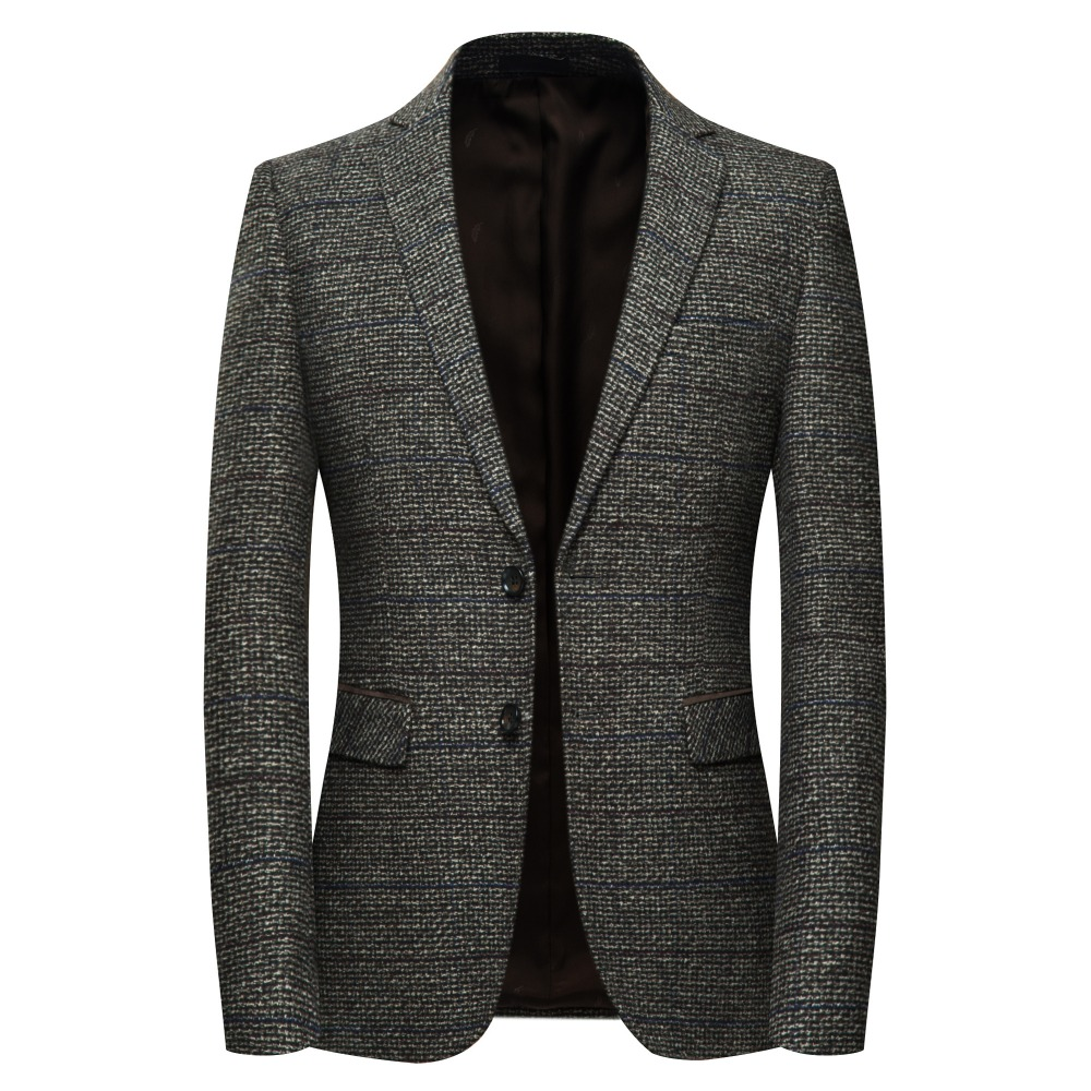 Jz Chief Men S Wool Blazer Striped Jacket Elbow Patch Blazer High