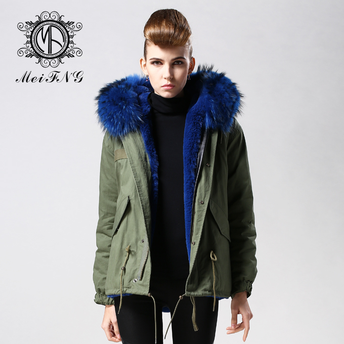 2015 new fashion women's parka dark blue fur parka coat natural ...