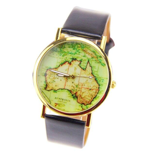 ff94be51b6e Das mulheres dos homens Relógios de Moda Austrália Mapa Liga Couro Banda Analógico  Quartz Pulseira Relógio
