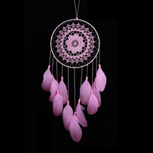 Buy pink dream catcher and get free shipping on aliexpress flowers dream catcher pink girl high quality feathers wind chimes hanging dreamcatcher for home wedding decoration mightylinksfo