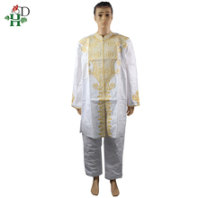 African Clothing Dashiki Shirt Bazin Two-Piece Men for Suits with Trouser Embroidered-Pattern