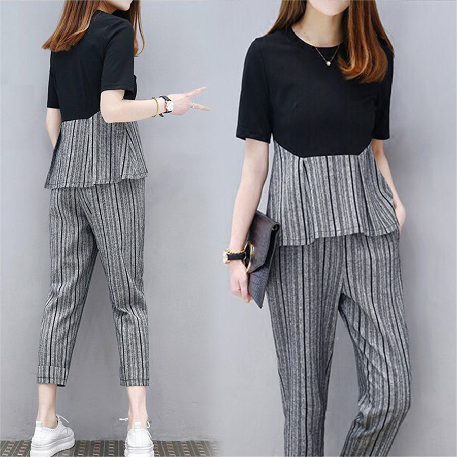 2019 Women Clothing Set Spring Summer Suit Striped Casual Shirt And Pant Set Womens Tracksuits 2 Piece Set 4XL