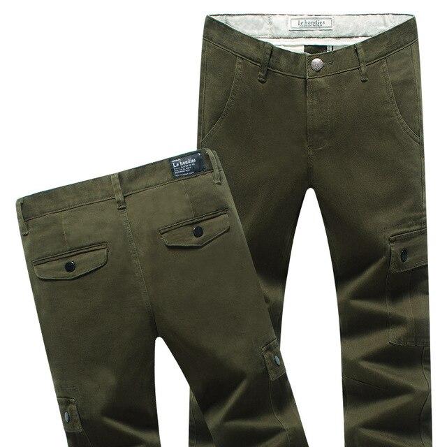 Mens Stretch Pantalones Vaqueros Lavados de Sarga Darked Multiples Bolsillos de Carga pantalones pantalones Slim Fit Straight Pantalones Casual Azul Marino Verde Del Ejército 781