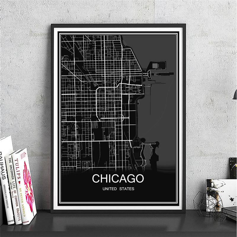 Hot Sale CHICAGO World Map Oil Painting City Poster Abstract Modern Canvas Coated Paper Print Picture Living Room Cafe Decor